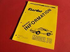 PORSCHE 911 turbo 3.3 ltr - Mod.1978 - Service Information / Manual / Leitfaden