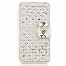 Luxury Bling Diamond Leather Flip Wristlet Wallet Phone Case For Galaxy S6