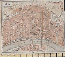 1925 GERMAN MAP ~ KOLN CITY PLAN GARDENS STATIONS CHURCHES OPERA HOUSE etc