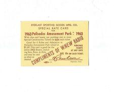 Vintage PALISADES AMUSEMENT PARK 1963 WNEW RADIO TICKET CARD