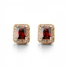GORGEOUS 18K GOLD PLATED GENUINE RUBY RED CUBIC ZIRCONIA RECTANGLE STUD EARRINGS