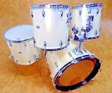 "Vintage 1980's Slingerland 4pc Drum Kit Set White Silk Finish 24"" 18"" 14"" 13"""