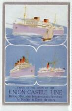 More details for union-castle line (different: shipping poster type advertising postcard (c53978)