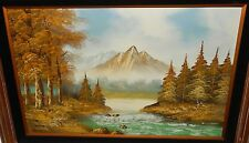 CANTRELL HUGE ORIGINAL OIL ON CANVAS RIVER CREEK MOUNTAIN LANDSCAPE PAINTING
