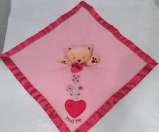 Carters Baby Security Blanket Lovey Pink Bear Cat Kitty Hug Me FREE SHIP RARE