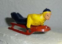 """VINTAGE LEAD RARE BARCLAY """"MAN ON SLED, IN YELLOW & BLUE"""" B192 Near Mint F/S  A"""