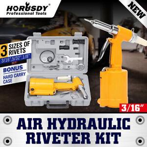 Air Hydraulic Pop Rivet Gun Pneumatic Riveter Industrial 4-Size Set With Case
