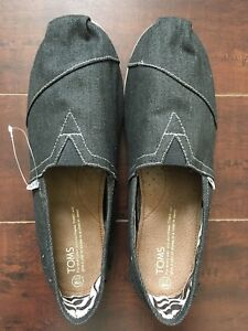BNIB TOMS (*RARE) Black Washed Denim Slip-ons US 11.5 D