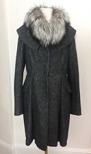 Christian Dior Wool/silk Blend Grey Coat With Fox Fur Collar