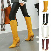 Women Knee High Cowboy Pointed Toe Boots Pull On Strange Thick High Heel Shoes