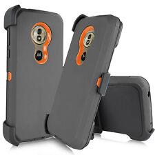 FOR Motorola Moto G7 Power Play E5 Supra Z4 Hybrid Armor Clip Holster Case Cover