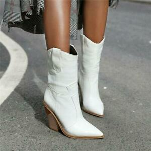 Womens Western Cowboy Mid Calf Boots Pull On Pointed Toe High Block Heels Boots