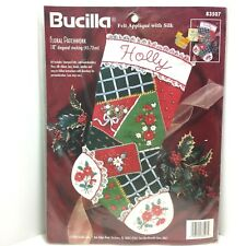 Bucilla Floral Patchwork Christmas Stocking Ribbon Embroidery Kit 83507 New