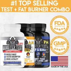 Monster Test Men's Testosterone Booster, Fat Burner Weight Loss Diet Pills 3PK