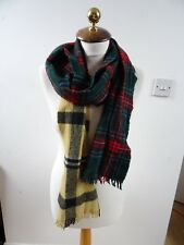 VINTAGE WOOL reinvented double length long tartan plaid on trend unique SCARF