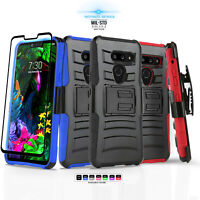 for LG G8 ThinQ, [Refined Series] Phone Case Cover & Holster +Tempered Glass