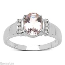 MORGANITE RING DIAMOND ACCENTS PLATINUM OVER STERLING SILVER SIZE 6,7,8,9