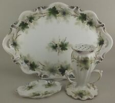 Antique RS Prussia 3 Pc Vanity Dresser Set Porcelain Ivy Tray Hat Pin Powder Jar