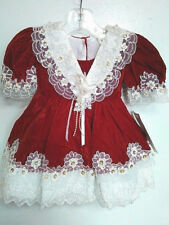 Vtg-80's-Baby Girls-Chic-Christmas-Red Velvet Lace Sequins Ruffle-Dress-12-18 mo