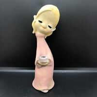 VINTAGE UCTCI POPPET TRIXIE PINK DRESS & WHITE BOW's CERAMIC FIGURINE JAPAN 60's