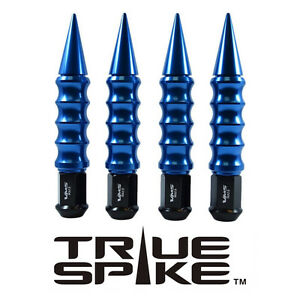 20 TRUE SPIKE 175MM 12X1.5 FORGED STEEL LUG NUTS W/ BLUE EXTENDED RIBBED SPIKES