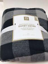 Pottery Barn Teen Buffalo Check Flannel Duvet Cover Gray Black TWIN