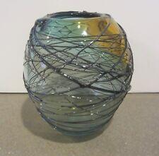 Studio Glass Art Vase Signed David Van Noppen Hand Blown Threaded Iridescent