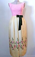 Vintage 60's women girl formal dress gown wedding pink yellow floral embroid XS