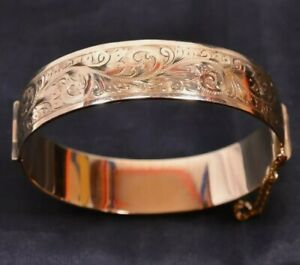 Vintage HG&S 1950's 9ct Gold Metal Core Engraved Bangle 44Grams Heavy Hallmarked