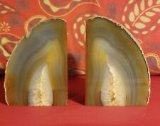 Brazilian Geode Polished Agate Quartz Crystal Bookends