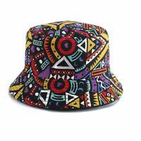 Vintage Retro Style Bucket Hat Colorful Ornaments Lines Shapes Hip Hop Out Wear