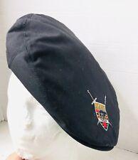 VINTAGE Highlander NEWSBOY Scottish Beret Bonnet Golf CAP Military HAT BLACK