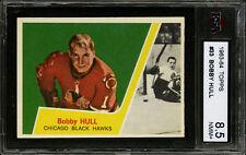 1963-64 TOPPS~#33~BOBBY HULL~HALL OF FAME~CHICAGO BLACK HAWKS~KSA 8.5 NM-MT+