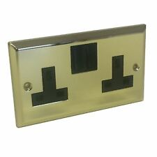 Double Plug Wall Socket Victorian Brass 2 Gang Electrical Polished Mirror Brass