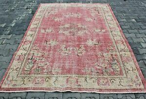 Turkish Vintage Pink Area Rug Anatolian Handmade Floral Design Wool Carpet 6x9ft