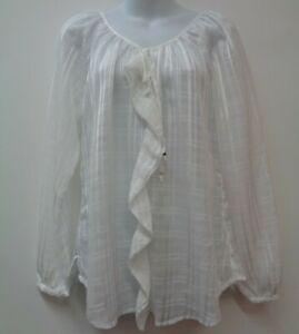 White House Black Market Small Top Shirt Blouse Ruffle Plaid Sheer NEW $98 Women