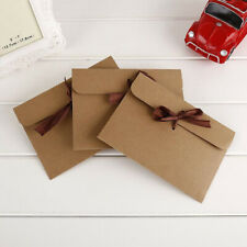 30PCS DIY Kraft Paper Retro Gift Card Envelope Romantic Letter with Ribbons US