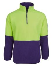 Jb's Wear Hi Vis 1/2 Zip Safety Polar Fleece Work Jumper with inseam Side Pocket