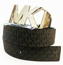 MICHAEL KORS Signature Reversible Belt Brown Faux Leather Gold Tone Luggage Sz L