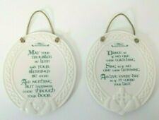 Lot of 2 Oval Porcelain Plaques with Irish Blessings White with Green Letters