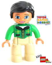 *NEW* LEGO DUPLO Female Figure Green Shirt Brown Pants Mom Mother Black Hair