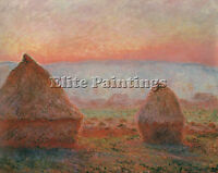 MONET CLAUDE HAYSTACKS GIVERNY EVENING SUN 1888 CAT20 ARTIST PAINTING OIL CANVAS