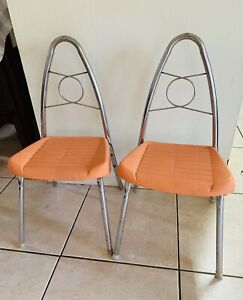2 Vintage Child's Chair Mid-Century Metal & Orange Plastic Retro Rare