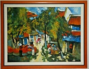 Painting Antique Gouache On Panel Style Asian 1960-70