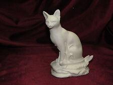 Ceramic Bisque Oriental Short Hair Siamese Cat on a Rock Base U-Paint Unpainted