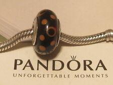 AUTHENTIC PANDORA BROWN & AMBER BUBBLES MURANO CHARM - 790689