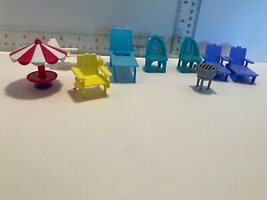 Doll House Miniature Dollhouse Furniture Patio Lounge chairs/grill
