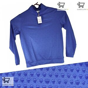PETER MILLAR Stretch Pullover 1/4 Zip Golf Sweater ⛳️ LARGE L⛳️ Blue Skull Swag