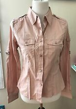 D&G Women's Pink Blue Striped Snap Button Shirt SZ M Cotton Blend