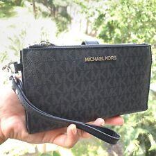 New Michael Kors MK Signature Double Zip Phone Case Wallet Wristlet Black